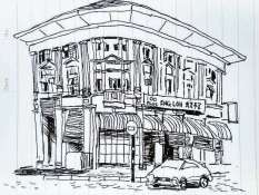 I stood on a corner for about 30 mins while I sketched this building one night. It seemed like a mammoth task at first to get in all the detail but somehow it worked out